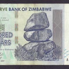 ZIMBABWE 100 DOLARI DOLLARS 2007 [2] P-67, VF+ - bancnota africa