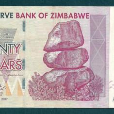 ZIMBABWE 20 DOLARI DOLLARS 2007 [4] P-68, VF+ - bancnota africa