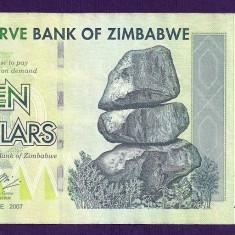 ZIMBABWE 10 DOLARI DOLLARS 2007 [2] P-67, XF+ - bancnota africa