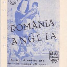 Program meci fotbal ROMANIA - ANGLIA 06.11.1968