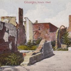GIURGIU STRADA OLARI CIRCULATA 1916 - Carte Postala Muntenia 1904-1918, Printata