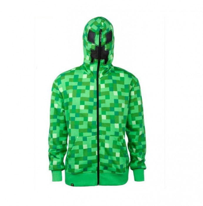 Hanorac Minecraft - 7-8 ani  - Creeper Hoodie Zip Up JINX + CADOU foto mare