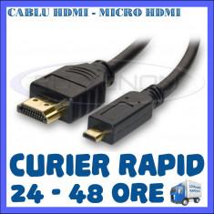 CABLU HDMI TATA - MICRO HDMI TATA - 1,5 METRI - PT. CAMERA SPORT SJCAM, GOPRO