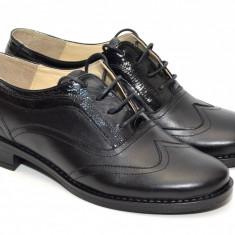 Pantofi dama piele naturala negri cu siret cod P21 - Made in Romania - Pantof dama, Culoare: Negru, Marime: 35, 36, 37, 38, 39, 40, Cu talpa joasa