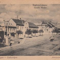 REGHIN, REGHINUL SASESC, STRADA MEDIE, CIRCULATA JUL.''925 - Carte Postala Transilvania dupa 1918, Printata