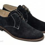 Pantofi barbati piele naturala velur negri casual-eleganti cu siret cod P25, Marime: 37, 38, 39, 40, 41, 42, 43, 44, 45, Culoare: Negru