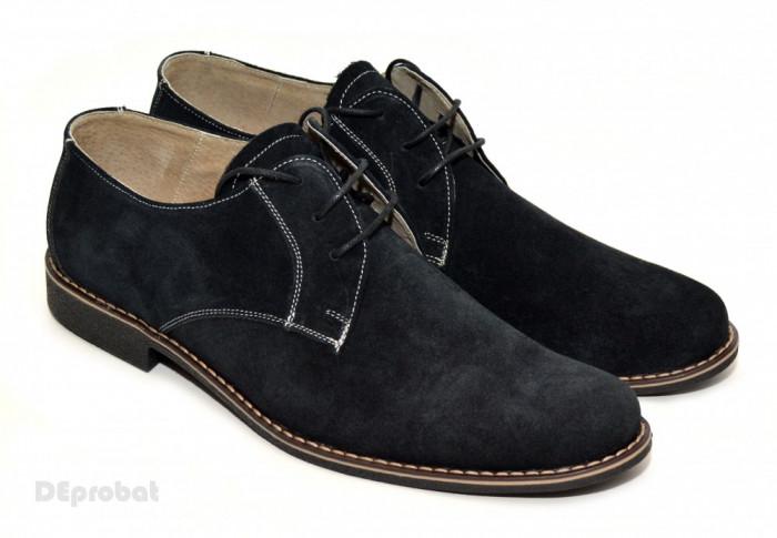 Pantofi barbati piele naturala velur negri casual-eleganti cu siret cod P25 foto mare