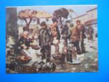 HOPCT 17005  C  -CP PICTURA NICU ENEA -IN PIATA /CASA MUZEU BACAU  -NECIRCULATA, Printata