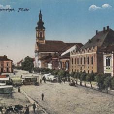 SIGHETU MARMATIEI, PIATA PRINCIPALA, CIRCULATA MAI ''918 - Carte Postala Maramures 1904-1918, Printata