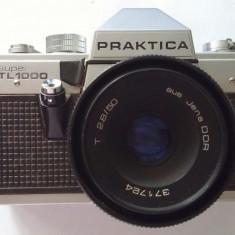 APARAT FOTO PRAKTICA SI OBIECTIV aus JENA DDR T 2.8 50MM - Aparat Foto cu Film Praktica, SLR, Mediu