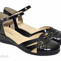 Pantofi dama piele naturala negri cu bareta cod P19 - Made in Romania - Pantof dama, Culoare: Negru, Marime: 35, 36, 37, 38, 39, 40, Cu talpa joasa