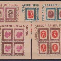 ROMANIA 1946, LP 197a, TINERETUL PROGRESIST BLOCURI DE 4 TIMBRE MNH, LOT 0 RO - Timbre Romania, Nestampilat