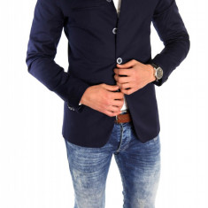 Sacou tip Zara Man bleumarin casual - sacou barbati - sacou bumbac cod 6333, Marime: S, L, Culoare: Din imagine