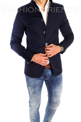 Sacou tip Zara Man bleumarin casual - sacou barbati - sacou bumbac  cod 6333 foto