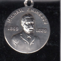 MIHAI EMINESCU(1849 -1889) PRIMA MEDALIE COMEMORATIVA 1889 MARCAT 800, 24 mm - Medalii Romania