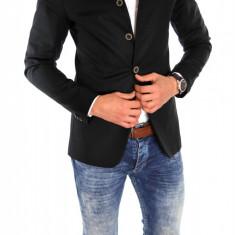 Sacou tip Zara Man negru casual - sacou barbati - sacou bumbac cod 6334, Marime: S, M, L, XL, Culoare: Din imagine