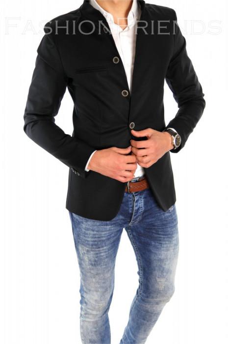 Sacou tip Zara Man negru casual - sacou barbati - sacou bumbac  cod 6334 foto mare