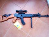 PUSCA AK47 MARE DIMENSIUNE 75CM,CALIBRU 6MM,LUNETA CU LASER,BIPOD+BILE.