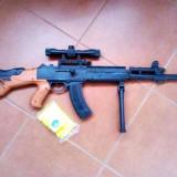 NOU 2016.PUSCA AK47 MARE DIMENSIUNE 75CM, CALIBRU 6MM, LUNETA CU LASER, BIPOD+BILE. - Arma Airsoft