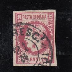 ROMANIA 1868, CAROL I CU FAVORITI, 18b, STAMPILAT, LOT 2 RO - Timbre Romania
