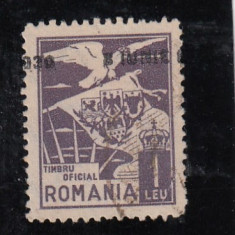 ROMANIA 1930, TIMBRU DE 1 LEU, VULTUR CU STEAG, SUPRATIPAR DEPLASAT, LOT 0 RO - Timbre Romania, Stampilat