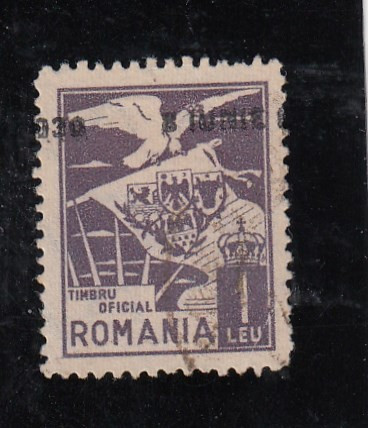 ROMANIA 1930 ,TIMBRU DE 1 LEU , VULTUR CU STEAG , SUPRATIPAR  DEPLASAT,LOT 0 RO foto mare