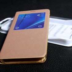Husa aurie flip piele eco pt Samsung Galaxy S6 EDGE PLUS - Husa Telefon Samsung, Transparent, Silicon, Toc
