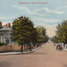 SLATINA, STRADA BUCURESTI, CIRCULATA IAN.''917 - Carte Postala Muntenia dupa 1918, Printata