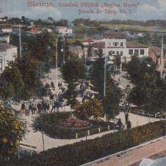 SLATINA, GRADINA PUBLICA ''REGINA MARIA'' SI SCOALA DE BAIETI NR.2, CIRC.10/918 - Carte Postala Oltenia 1904-1918, Circulata, Printata
