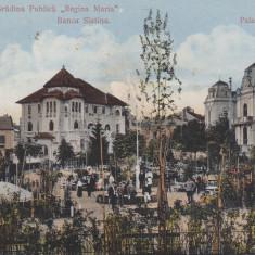 SLATINA, GRADINA PUBLICA ''REGINA MARIA'' BANCA SLATINA, PALATUL ADMINISTRATIV - Carte Postala Oltenia 1904-1918, Circulata, Printata