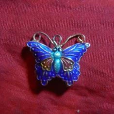 Medalion Fluturas filigranat , metal emailat , L= 2,6 cm