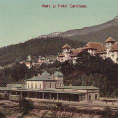 SINAIA, GARA SI HOTEL CARAIMAN, TREN - Carte Postala Muntenia 1904-1918, Necirculata, Printata
