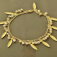 Superba bratara 9K GOLD FILLED cu pandantive zircon cz - Bratara placate cu aur