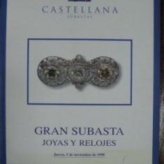 Bijuterii si ceasuri, Catalog Licitatii Castellana, Madrid 5 Noembrie 1998 - Carte Istoria artei