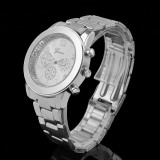 Ceas dama tip GENEVA argintiu curea metalica+ cutie cadou, Quartz, Otel, Analog