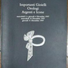 Bijuterii importante, Ceasuri, Argintarie, Icoane, Catalog Licitatie Christies, Roma 1997 - Carte Istoria artei
