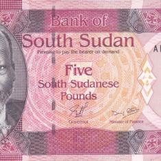 Bancnota Sudanul de Sud 5 Pounds 2011 - P6 UNC