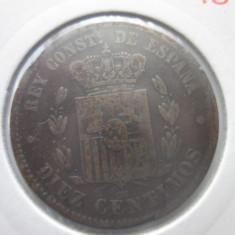 Spania 10 centimos 1879, Europa, Bronz