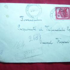 Plic circulat Recomandat de la Odobesti la Focsani, cu val.mare 1, 75 lei rosu