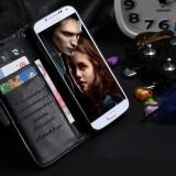 Husa / toc piele fina Samsung Galaxy S4 lux, tip flip cover portofel, NEGRU - Husa Telefon