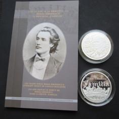 Moneda-UNCIE- Argint=150 de ani de la debutul lui M.Eminescu, tiraj 200 bucati ! - Moneda Romania, An: 2016