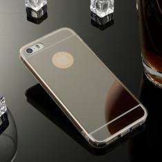 Iphone 5 5S 5SE - Husa Ultra Slim 0.3mm Silicon cu Spate Oglinda Neagra - Husa Telefon Apple, iPhone 5/5S/SE, Negru