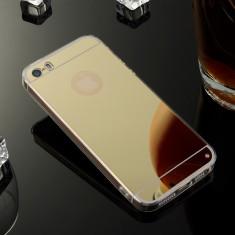Iphone 5 5S 5SE - Husa Ultra Slim 0.3mm Silicon cu Spate Oglinda Gold - Husa Telefon Apple, iPhone 5/5S/SE, Auriu