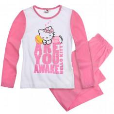 Pijama cu maneca lunga Hello Kitty alb/roz