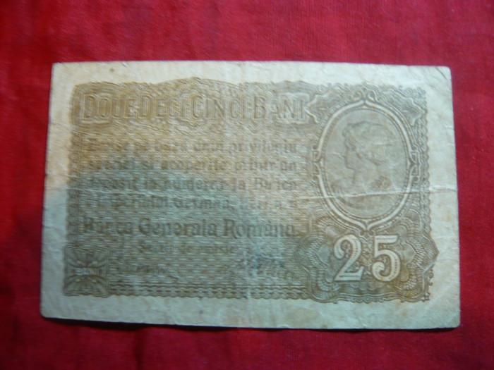 Bancnota 25 Bani 1917 , Ocupatie Germana,  cal. buna