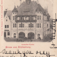 SIGHISOARA, CASA DE COMERT, CAFE MARTINI, CLASICA, CIRCULATA 1901 - Carte Postala Transilvania pana la 1904, Printata