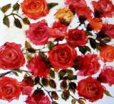 Pictura, tablou cu  trandafiri rosii, original ELENA BISSINGER #2, Flori, Ulei, Realism