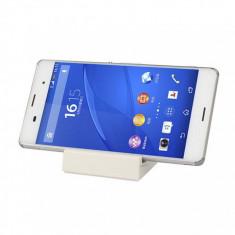 Dock alb incarcare pentru Sony Xperia Z3 + cablu date - Husa Telefon Sony, Universala, Transparent, Plastic, Husa