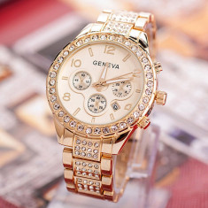 Ceas dama FASHION NEW Geneva auriu ( galben) cristale bratara + cutie cadou, Casual, Quartz, Otel, Analog