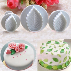Set 3 decupatoare/cutter martipan fondant frunza decor tort prajitura cofetarie - Produse pentru copt